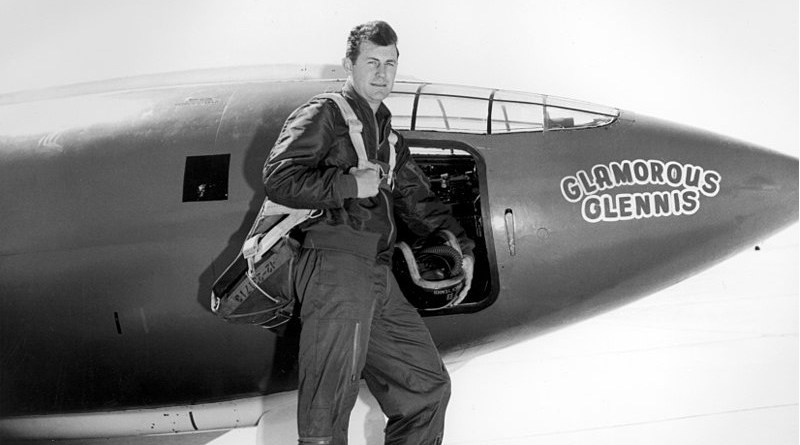 Chuck Yeager in front of the Bell X-1, which, as with all of the aircraft assigned to him, he named Glamorous Glennis (or some variation thereof), after his wife. Photo Credit: U.S. Air Force photo, Wikipedia Commons