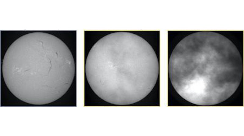 Solar observations with image quality decreasing from left to right CREDIT Kanzelhöhe Observatory for Solar and Environmental Research, Austria.