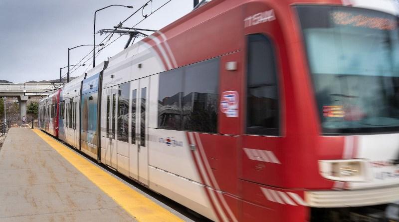 A UTA TRAX train on the University of Utah campus. CREDIT University of Utah