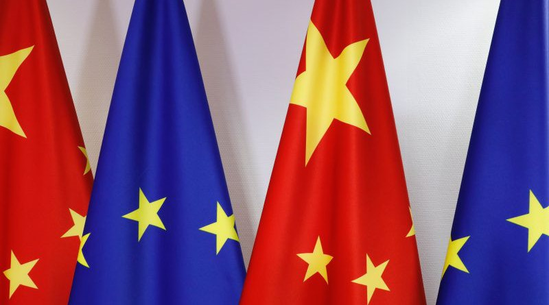 EU and China flags on display in the Council building on 22 June 2020. [Council Newsroom]