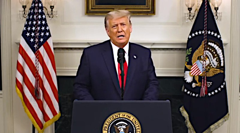 US President Donald Trump gives a national address at the White House, Washington, DC, December 2, 2020. © Facebook / Donald J. Trump