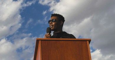 """Senior Airman Marcel Williams, 27th Special Operations Wing public affairs broadcaster, speaks at """"Gathering for Unity"""" event at Cannon Air Force Base, New Mexico, June 5, 2020, and shares experiencing racism in his own community (U.S. Air Force/Lane T. Plummer)"""