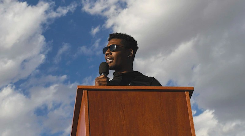 "Senior Airman Marcel Williams, 27th Special Operations Wing public affairs broadcaster, speaks at ""Gathering for Unity"" event at Cannon Air Force Base, New Mexico, June 5, 2020, and shares experiencing racism in his own community (U.S. Air Force/Lane T. Plummer)"