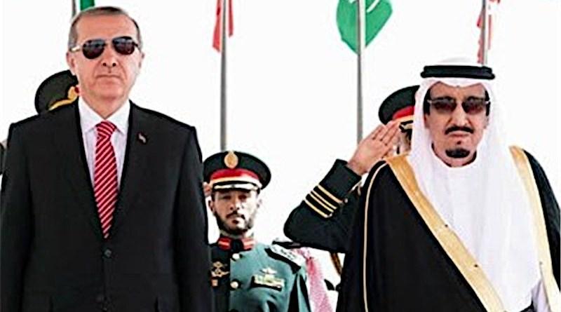 Turkey's President Recep Tayyip Erdogan and King Salman bin Abdulaziz Al Saud of Saudi Arabia. Photo Credit: Tasnim News Agency