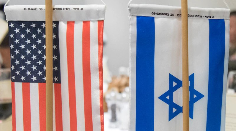 The U.S. and Israeli flags sit on a conference table in Tel Aviv. Photo Credit: Navy Petty Officer 2nd Class Dominique A. Pineiro, DOD