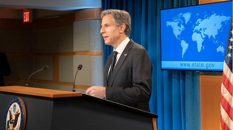 US Secretary of State Antony J. Blinken delivers remarks to the media at the U.S. Department of State in Washington, D.C. [State Department Photo by Freddie Everett/ Public Domain]