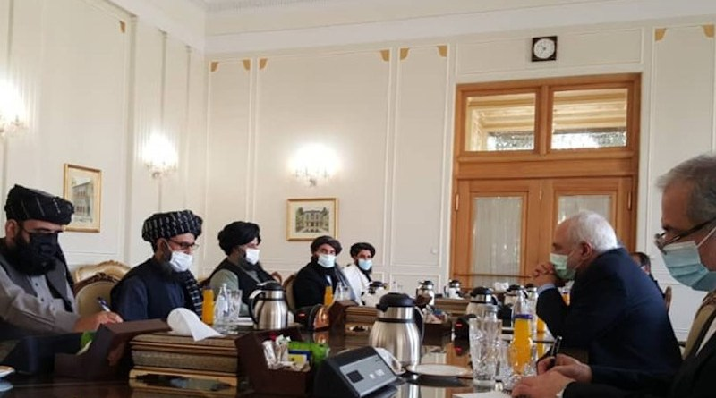 Iranian Foreign Minister Mohammad Javad Zarif meets with Taliban leaders in Tehran. Photo Credit: Tasnim News Agency