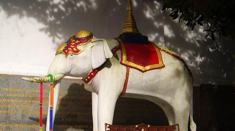 White elephant shrine in Thailand. Photo Credit: Kyle sb, Wikipedia Commons