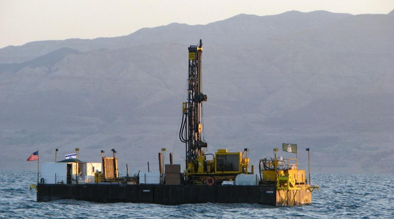 Drilling barge in the Dead Sea, 2010. CREDIT Tel Aviv University.