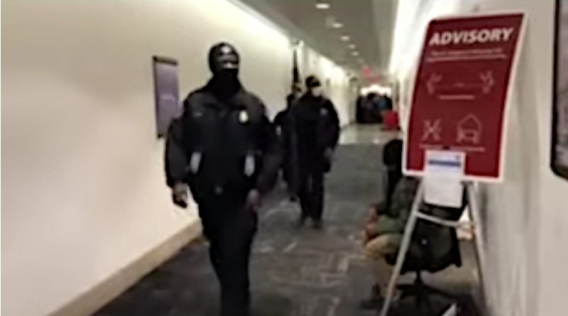 US Congress after being breached. Photo Credit: Screenshot VOA video