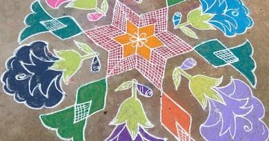 Rangoli drawing for Margazhi month festivals. Photo Credit: Raamleaks, Wikimedia Commons