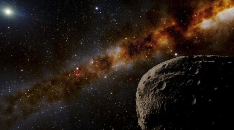 """This illustration imagines what the distant object nicknamed """"Farfarout"""" might look like in the outer reaches of our Solar System. The most distant object yet discovered in our Solar System, Farfarout is 132 astronomical units from the Sun, which is 132 times farther from the Sun than Earth is. Estimated to be about 400 kilometers (250 miles) across, Farfarout is shown in the lower right, while the Sun appears in the upper left. The Milky Way stretches diagonally across the background. CREDIT NOIRLab/NSF/AURA/J. da Silva"""