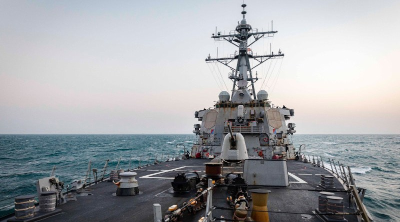 The Arleigh Burke-class guided-missile destroyer USS John S. McCain transits through South China Sea. Photo Credit: Mass Communication Specialist 2nd Class Markus Castaneda)