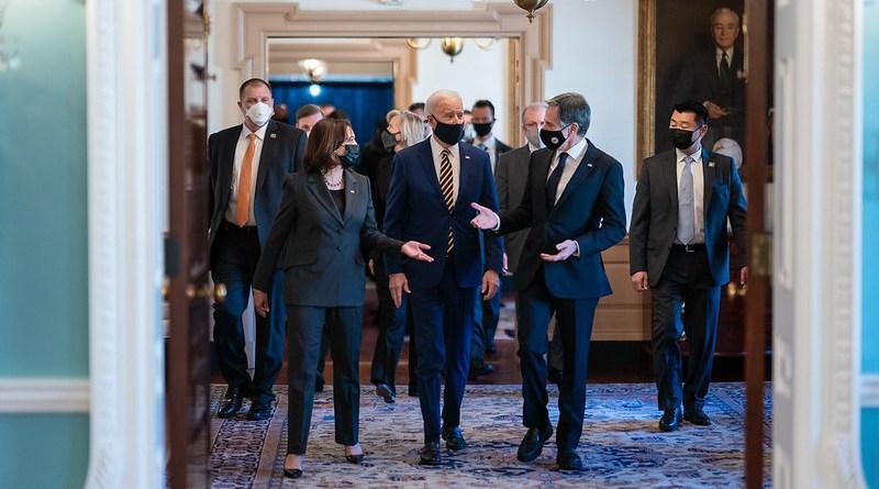 President Joe Biden walks with Vice President Kamala Harris and Secretary of State Antony Blinken. (Official White House Photo by Adam Schultz)