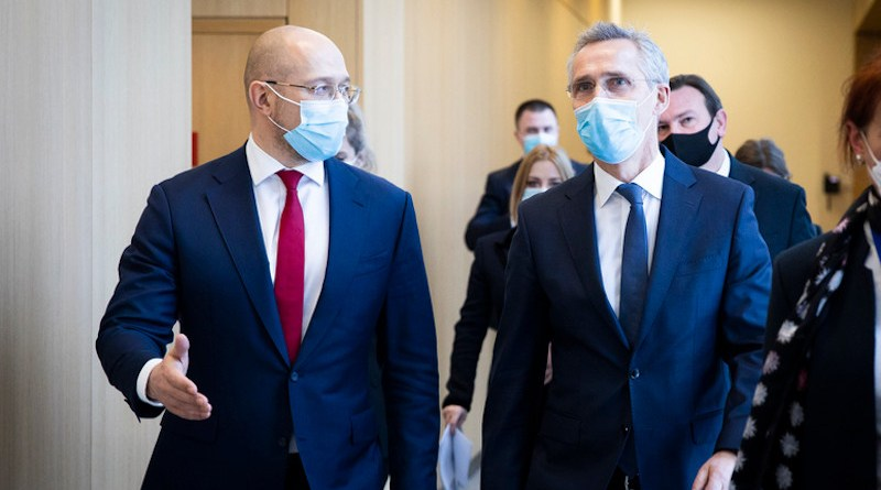 Ukraine's Prime Minister Denys Shmyhal and NATO Secretary General Jens Stoltenberg. Photo Credit: NATO