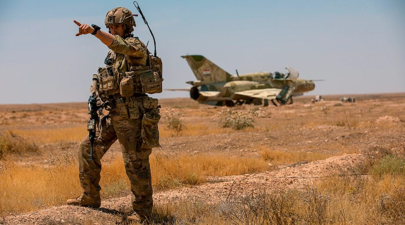 Soldiers from the 1st Battalion, 5th Infantry Regiment, 1st Brigade Combat Team, 25th Infantry Division, and Norwegian soldiers perform a joint combat reconnaissance patrol around Al Asad Air Base in Iraq, May 15, 2020. Photo Credit: Army Spc. Derek Mustard