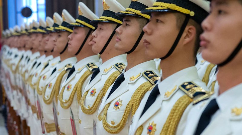 Chinese sailors stand in formation at the People's Liberation Army headquarters in Beijing. Photo Credit: Navy Chief Petty Officer Specialist Elliott Fabrizio