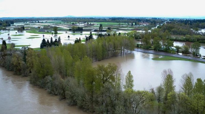 A 2019 flood along the Willamette River. CREDIT David Baker, Oregon State University