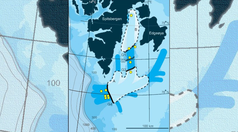 Map of Storfjorden and Storfjorden Trough with ice-sheet extent at 22,000 years and ice streams indicated. Areas, where the shelf ice and ice streams broke up during atmospheric and ocean warming are marked with whitish colours. (A) Collapse during the first warming phase c. 15,000 years ago. (B) Collapse at the start of the present warm period (intergladial) 11,000 years ago. Black lines marked G4 to G1 are groundings lines where the ice stood still for an extended period of time. CREDIT Illustration T. Rasmussen/E. Thomsen