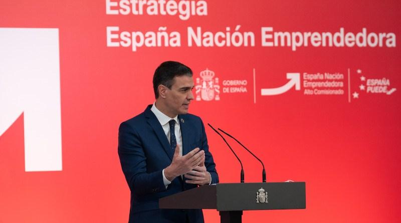 Spanish Prime Minister Pedro Sánchez presents the 'Spain: Entrepreneurial Nation Strategy'. Photo Credit: Pool Moncloa/Borja Puig de la Bellacasa