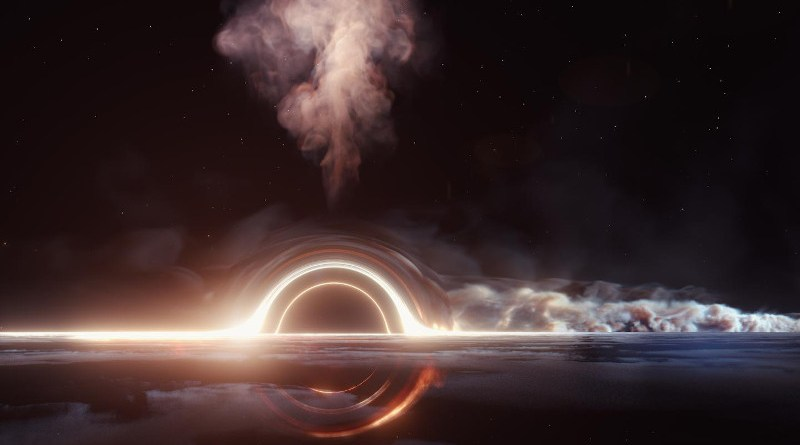 A view of the accretion disc around the supermassive black hole, with jet-like structures flowing away from the disc. The extreme mass of the black hole bends spacetime, allowing the far side of the accretion disc to be seen as an image above and below the black hole. CREDIT DESY, Science Communication Lab