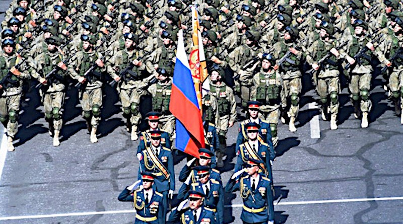 Russian troops from the Gyumri military base during a parade in Yerevan, Armenia. Photo Credit: Mil.ru, Wikipedia Commons