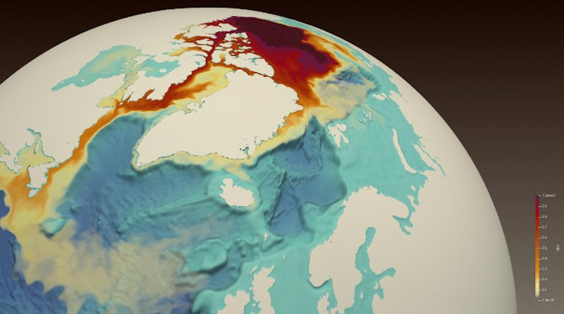 A simulated red dye tracer released from the Beaufort Gyre in the Artic Ocean (center top) shows freshwater transport through the Canadian Arctic Archipelago, along Baffin Island to the western Labrador Sea, off the coast of Newfoundland and Labrador, where it reduces surface salinity. At the lower left is Newfoundland (triangular land mass) surrounded by orange for fresher water, with Canada's Gulf of St. Lawrence above colored yellow. CREDIT Francesca Samsel and Greg Abram