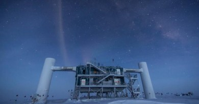 The Ice Cube telescope built in Antarctica. CREDIT Felipe Pedreros