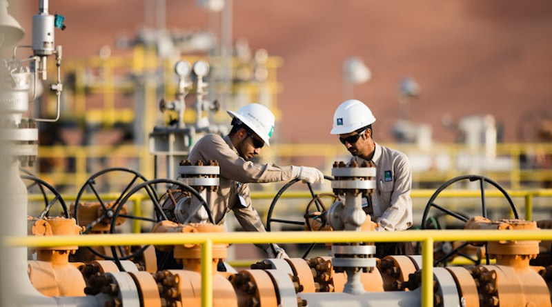Workers at a Saudi Aramco oil installation. Photo Credit: Saudi Aramco