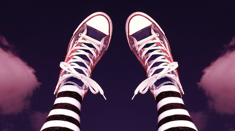 Shoe Footwear Sneakers Legs Female Tights Stripes