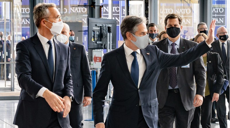 Secretary of State Antony J. Blinken arrives at NATO and is greeted by NATO Secretary General Jens Stoltenberg, in Brussels, Belgium on March 23, 2021. [State Department photo by Ron Przysucha/ Public Domain]