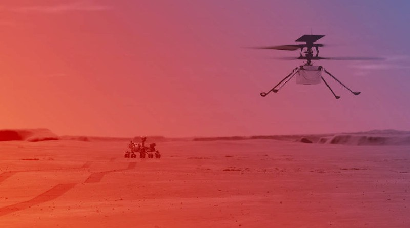 An illustration of NASA's Ingenuity Helicopter flying on Mars Credits: NASA/JPL-Caltech