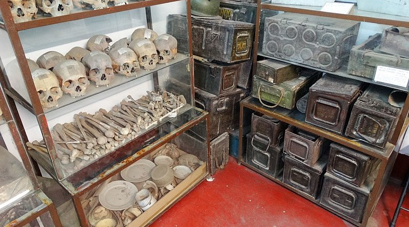 Human remains and war materiel from the 1971 genocide at the Liberation War Museum, Dhaka, Bangladesh. Photo Credit: Adam Jones, Wikipedia Commons