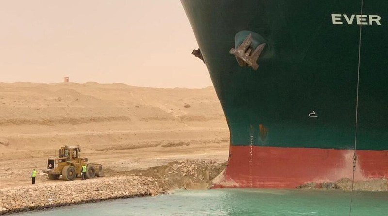 Ever Given container grounded in Suez Canal. Photo Credit: Mehr News Agency
