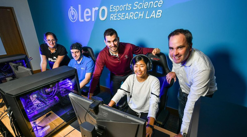 Pictured at the opening of the Lero Esports Science Research Lab in University of Limerick are, from left, Jessica Mangione, research assistant Niall Ramsbottom, Dr Adam Toth, postgraduate researcher Yueying Gong and lab director Dr Mark Campbell. CREDIT Photo by Diarmuid Greene / True Media.