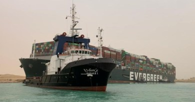 Tugboats working to free the Ever Given container ship in the Suez Canal. Photo Credit: Mehr News Agency
