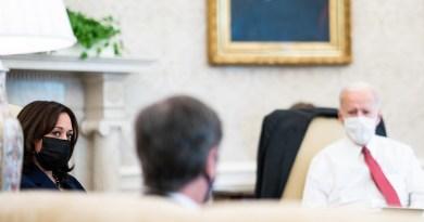 President Joe Biden and Vice President Kamala Harris listen as Secretary of State Antony Blinken speaks. (Official White House Photo by Adam Schultz)