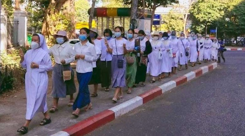 Nuns from the Sisters of St. Joseph of the Apparition march in the streets of Yangon in February. (Photo: SJA)
