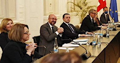 European Council President Charles Michel (center) mediating between Georgian Dream and the United Opposition, March 1 (Source: Presidential Administration of Georgia)