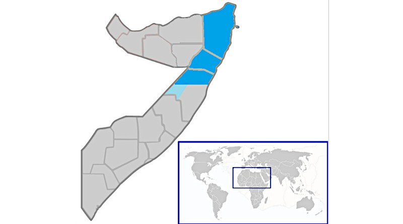 Location of Puntland (blue and dark blue) in Somalia (blue & grey). Credit: Wikipedia Commons