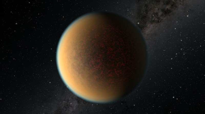 This image is an artist's impression of the exoplanet GJ 1132 b. For the first time, scientists using the NASA/ESA Hubble Space Telescope have found evidence of volcanic activity reforming the atmosphere on this rocky planet, which has a similar density, size, and age to that of Earth. Credit: NASA, ESA, and R. Hurt (IPAC/Caltech)