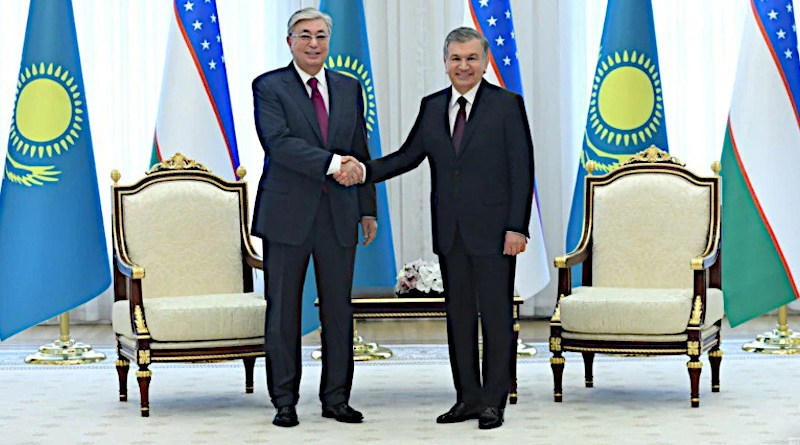 Uzbek President Shavkat Mirziyoev (right) meets with his Kazakh counterpart Qasym-Zhomart Toqaev in Tashkent in April 2019. Photo Credit: President.uz