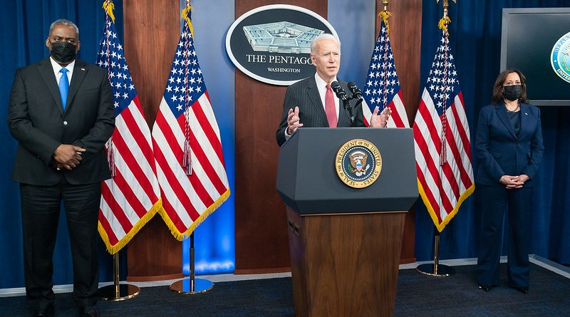 President Joe Biden, joined by Vice President Kamala Harris and Secretary of Defense Lloyd Austin, delivers remarks during a press conference. (Official White House Photo by Adam Schultz)