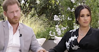 Prince Harry and Meghan Markle during their interview with Oprah Winfrey. (Photo: Video Grab)