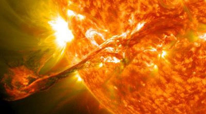 A coronal mass ejection, or CME, erupting into space on 31 August, 2012. Pictured here is a blended version of the 171 and 304 angstrom wavelengths taken from the Solar Dynamics Observatory. CREDIT Source: NASA Goddard Space Flight Center Credit: NASA/GSFC/SDO