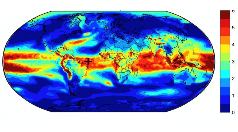 This map of the Earth shows the spacial pattern of temperature variance by percentage. The most variance is seen in the tropics with less at the poles. CREDIT Daniel J. Brouillette. Penn State