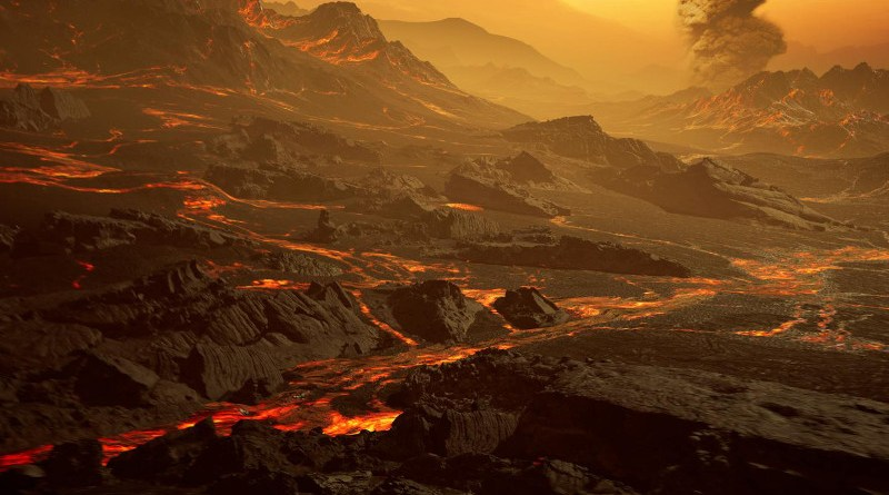 Artistic impression of the surface of the newly discovered hot super-Earth Gliese 486b. With a temperature of about 700 Kelvin (430°C), the astronomers of the CARMENES Consortium expect a Venus-like hot and dry landscape interspersed with glowing lava rivers. Gliese 486b possibly has a tenuous atmosphere. CREDIT RenderArea, https://renderarea.com