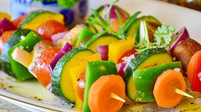 vegan Vegetable Skewer Paprika Tomato Mushrooms Onion