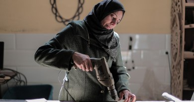 Woman Hijab Worker Factory Worker Drill Drilling