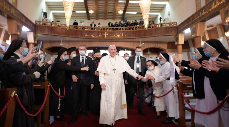 Pope Francis at the Cathedral of Our Lady of Salvation in Baghdad, Iraq, March 5, 2021. Photo credits: Vatican Media.